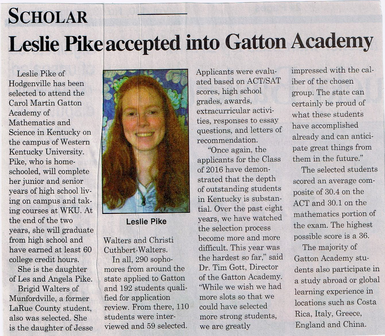 Leslie Anne Accepted into Gatton Academy
