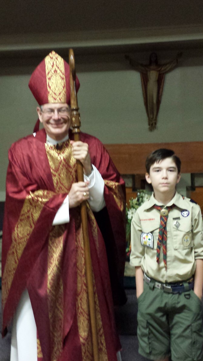 Andrew Awarded Catholic Emblem by Bishop