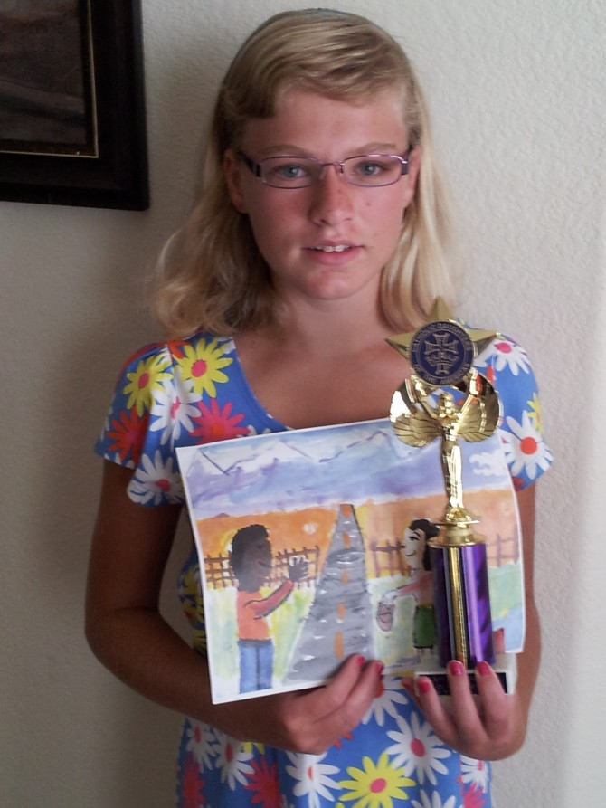 Maria Wins 1st Place in Art Contest