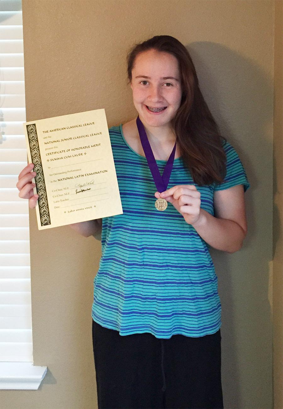 Haley Scores Summa Cum Laude on National Latin Exam Level 1