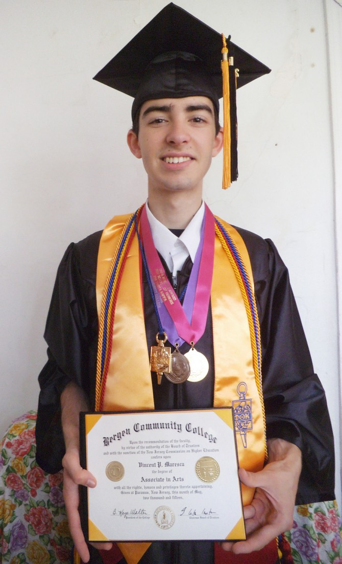 Vincent Graduates from Bergen Community College with Numerous Honors & Awards