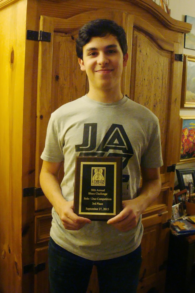 Gabriel Wins 3rd Place in Adult Category of Blues Challenge