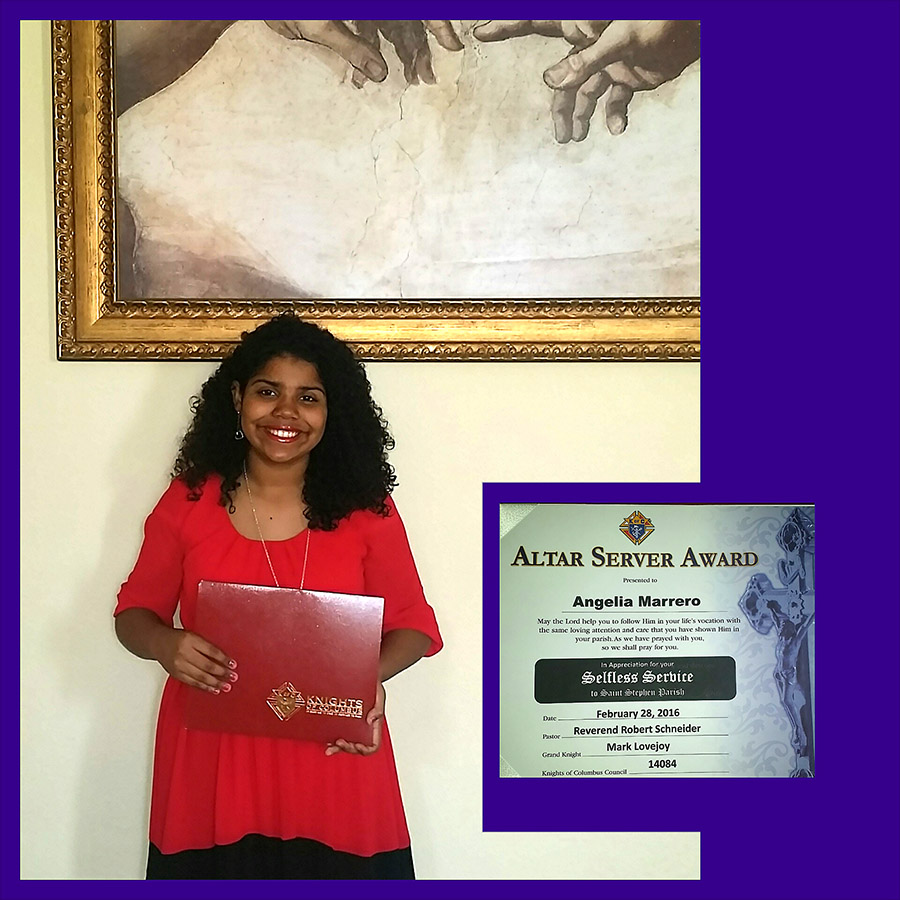 Angelia Recognized by Knights of Columbus for Altar Service