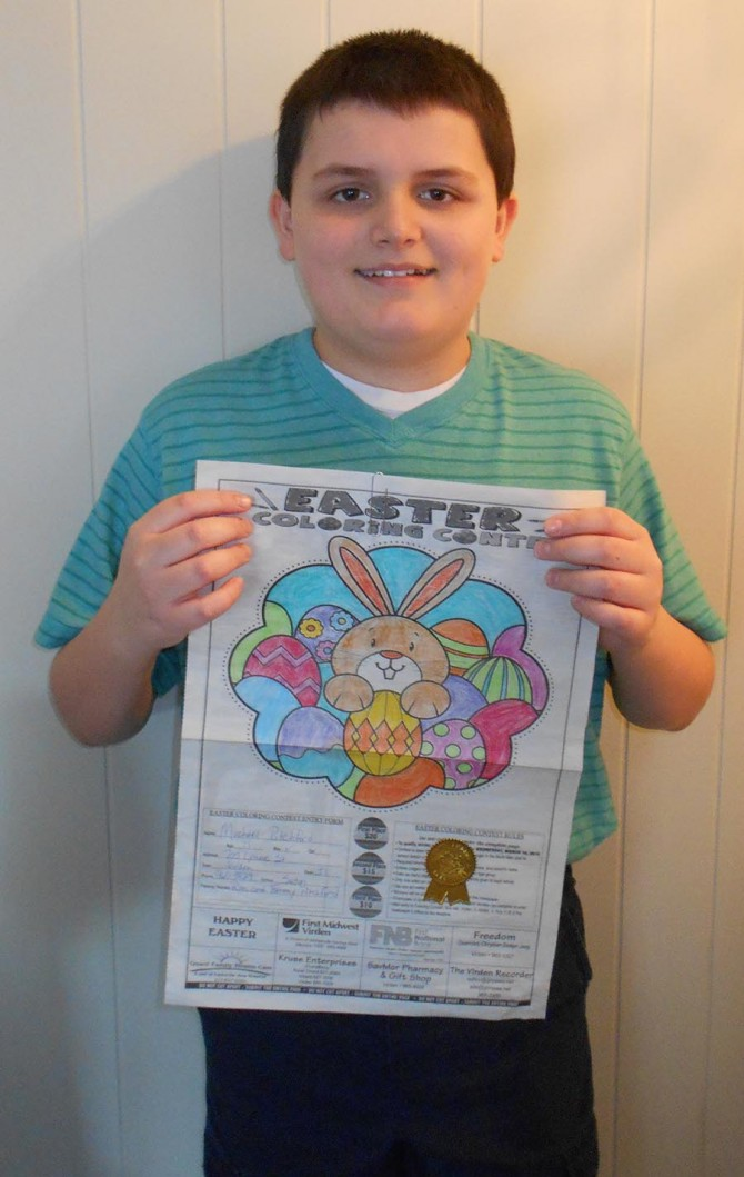 Michael Wins 1st Place in Coloring Contest