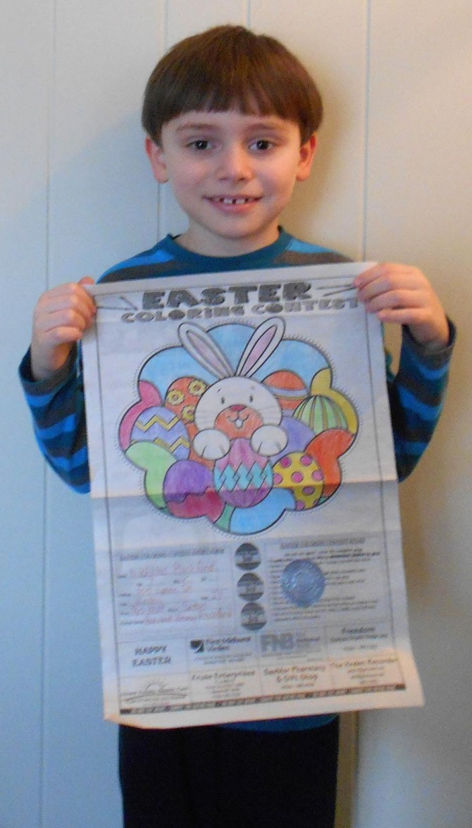 Nicholas Wins 2nd Place in Coloring Contest