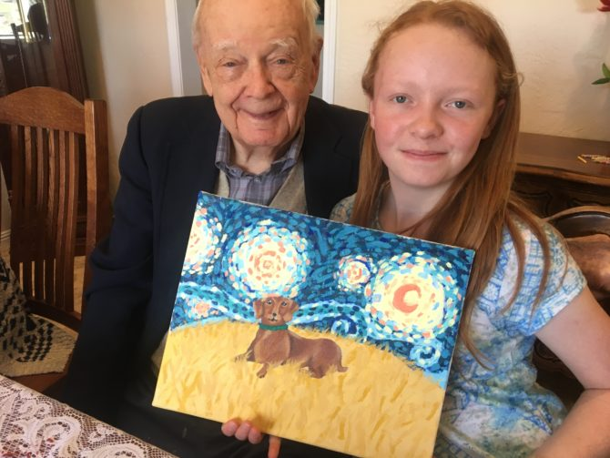 Katherine Paints Picture for 95 Year Old Grandfather