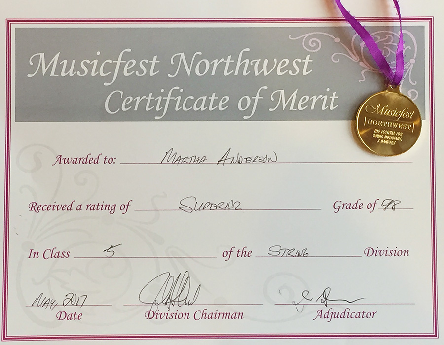Martha Wins First Place in Violin Competition