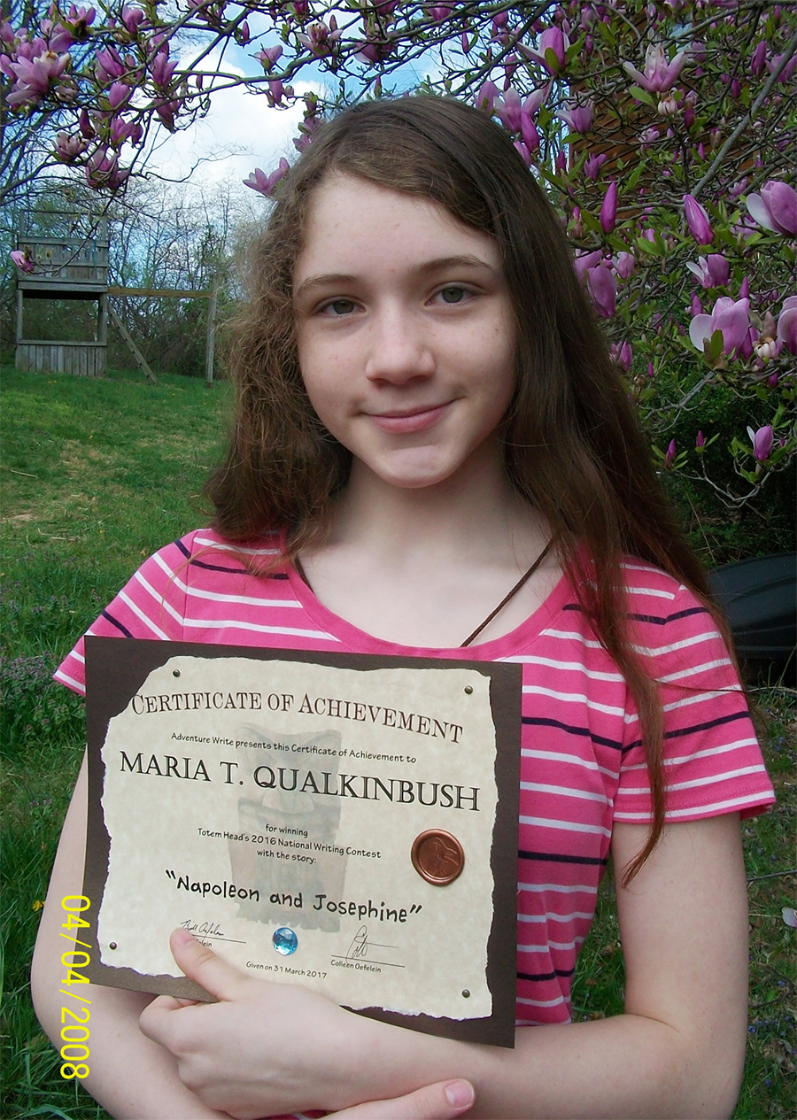 Maria Wins Short Story Writing Contest