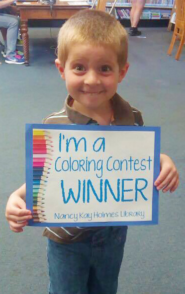 Anthony Wins Coloring Contest at Library