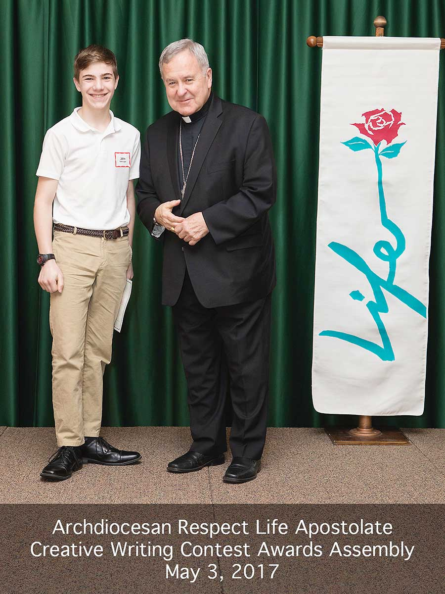 John Wins Scholarship in Respect Life Contest