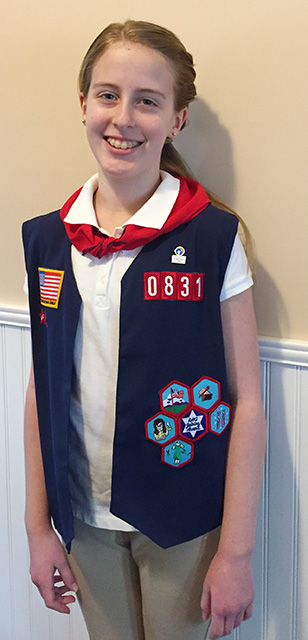 Bridget Earns AHG Badges, Patches, and Service Stars