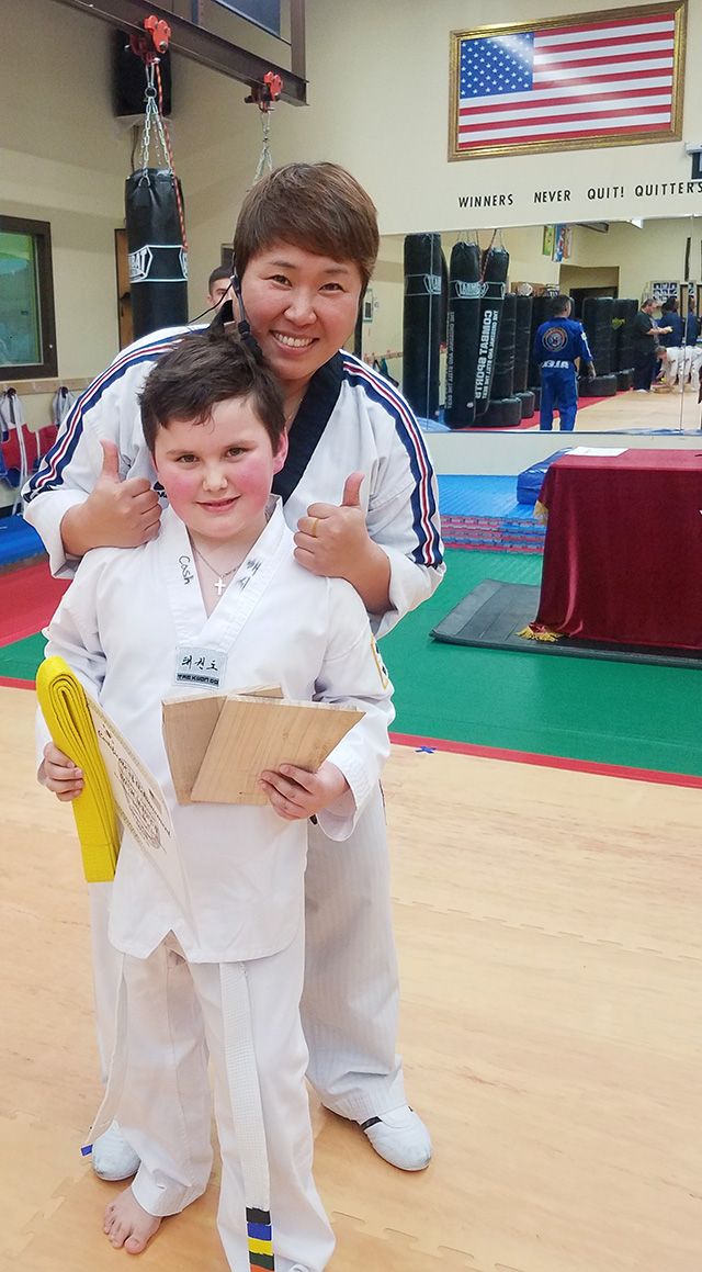 Homeschool Helped Cash Earn Taekwondo Yellow Belt
