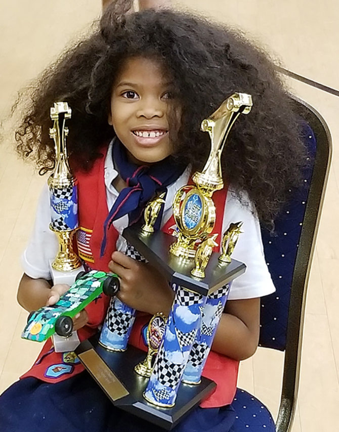 AHG Tenderheart Ellamaria Takes 1st in Pinewood Derby