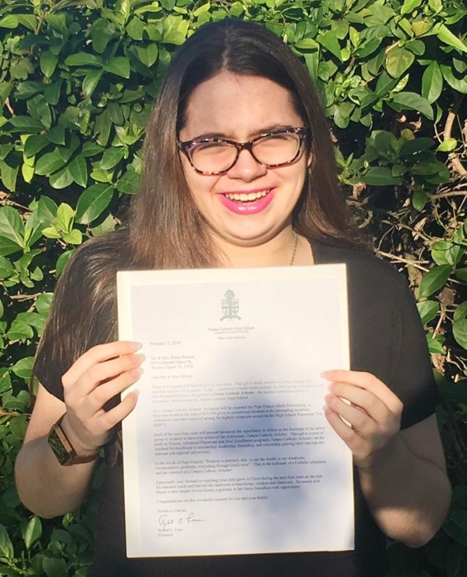 Savannah Awarded Pope Francis Merit Scholarship