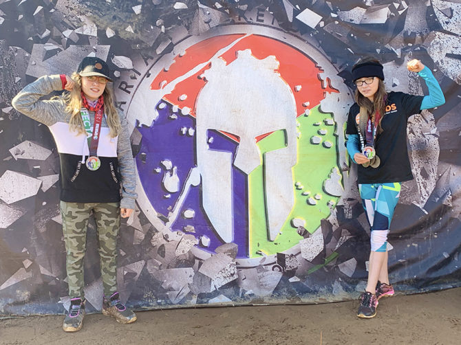Mia and Jaysie Win Medals in Spartan Obstacle Race