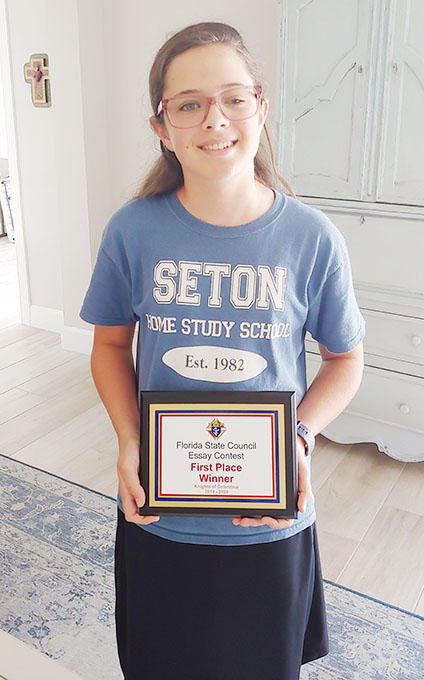 Sarah's Essay Moves Up to National Knights Competition