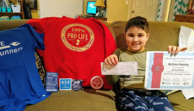 Matthew's Winning Essay Raises Pro-Life Awareness