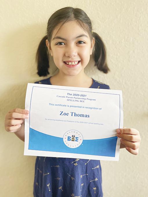 Spelling Bee Champion Zoe Going to Regionals