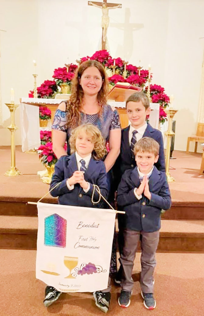 With Permission Benedict Receives as First Grader