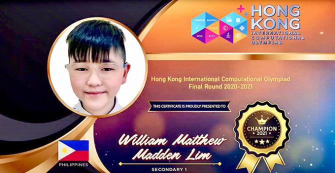 William Achieves the Gold award for International Computational Olympiad 2021